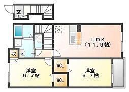 シャトー・シモハタ 3[2階]の間取り