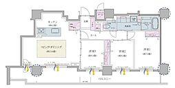 クリオ円山鳥居前 2階3LDKの間取り