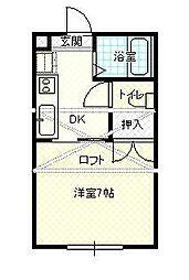 JR山形新幹線 山形駅 バス20分 坂巻バス停下車 徒歩3分の賃貸アパート 2階1Kの間取り