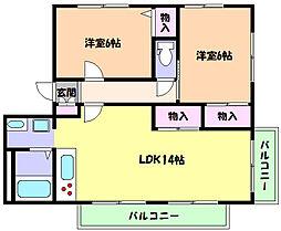 兵庫県芦屋市奥山の賃貸アパートの間取り