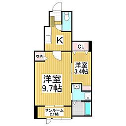 長野県松本市筑摩2丁目の賃貸アパートの間取り