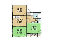 福島県いわき市小名浜岡小名四丁目の賃貸アパートの間取り