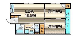 シェモア北花田[4階]の間取り