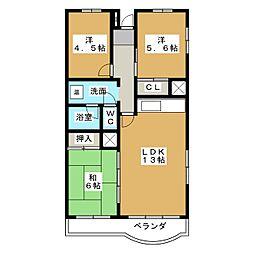 富吉グリーンハイツ3号棟[10階]の間取り