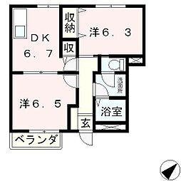 滋賀県大津市石山寺5丁目の賃貸マンションの間取り