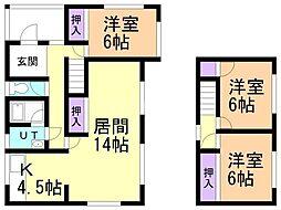 JR室蘭本線 崎守駅 徒歩21分の賃貸一戸建て 1階3LDKの間取り