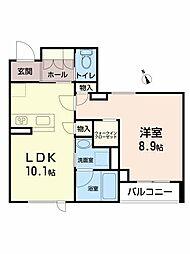 La・Saki福沢町 2階1LDKの間取り