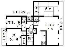 パークハイム阿倍野元町[4階]の間取り