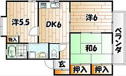 福岡県北九州市若松区童子丸2の賃貸アパートの間取り