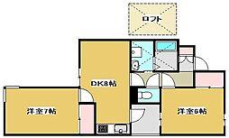 上島コモンコートB棟[2階]の間取り