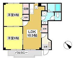 アンソレイエ京ヶ峰 II 1階2LDKの間取り
