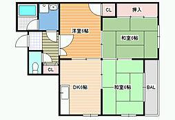 JPアパートメント藤井寺2[3階]の間取り