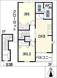 グレイスヴィラ三番館[2階]の間取り