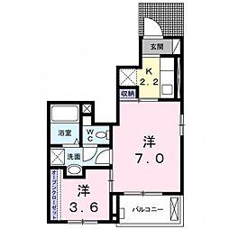 埼玉県熊谷市石原の賃貸アパートの間取り