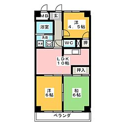 クレストハイツ岩塚[4階]の間取り