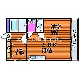 岡山県岡山市北区奥田本町の賃貸マンションの間取り