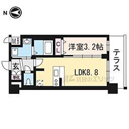京都市営烏丸線 十条駅 徒歩5分の賃貸マンション 1階1LDKの間取り