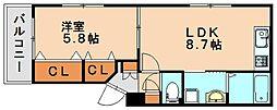 JR鹿児島本線 南福岡駅 徒歩14分の賃貸マンション 3階1LDKの間取り