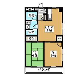 マンションセラヴィ 3階2LDKの間取り