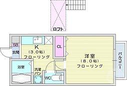 仙台市営南北線 愛宕橋駅 徒歩5分の賃貸アパート 2階1Kの間取り