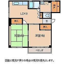 JR中央本線 下諏訪駅 徒歩13分の賃貸マンション 2階2LDKの間取り