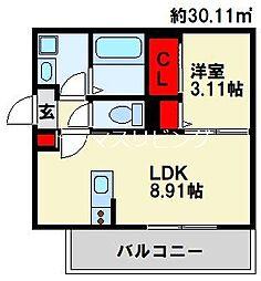 Ariga 10 D棟 3階1LDKの間取り