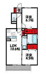 D-room篠栗 1階2LDKの間取り