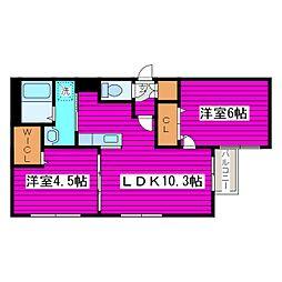 札幌市営南北線 麻生駅 徒歩12分の賃貸マンション 3階2LDKの間取り