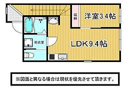 北九州都市モノレール小倉線 香春口三萩野駅 徒歩3分の賃貸アパート 2階1LDKの間取り