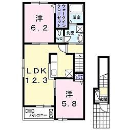 エスポワールu[2階]の間取り