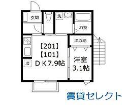 ドルフK-3[101号室号室]の間取り