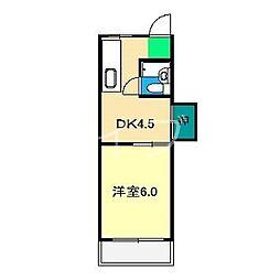 コーポ都築[3階]の間取り