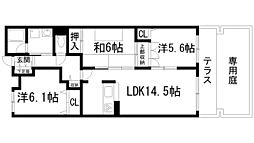 兵庫県西宮市名塩山荘の賃貸マンションの間取り