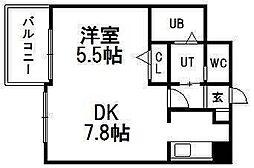 ハウスオブリザ菊水弐番館[202号室]の間取り