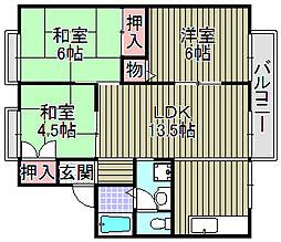 ハイツミヅホA棟[A201号室]の間取り