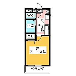 JR山陽本線 北長瀬駅 徒歩6分の賃貸アパート 2階1Kの間取り