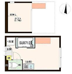 ハーモニーテラス成田東 2階ワンルームの間取り
