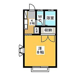 ヒルズ13B[2階]の間取り