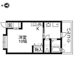 京ぐらし東福寺 1階1Kの間取り