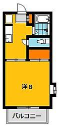 栃木県宇都宮市西川田3丁目の賃貸アパートの間取り
