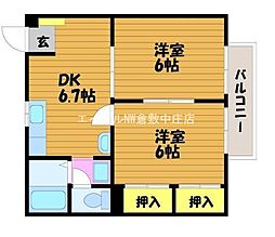 岡山県倉敷市中庄丁目なしの賃貸アパートの間取り