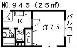 バンベール牧野[4階]の間取り
