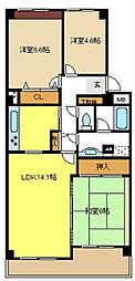 愛知県名古屋市昭和区御器所3丁目の賃貸マンションの間取り