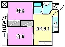 道後姫塚ハイツ[406 号室号室]の間取り