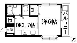 兵庫県川西市矢問2丁目の賃貸マンションの間取り