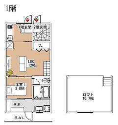 Luxe小郡(新築) 1階1LDKの間取り