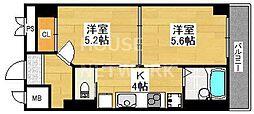 Kushige Gojo[511号室号室]の間取り