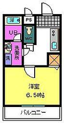 COZY HOUSE、GUMINOKI 2階1Kの間取り