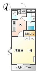 JR呉線 新広駅 徒歩20分の賃貸アパート 2階1Kの間取り