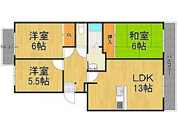 室川西館[3階]の間取り